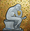 Cartoon: The Poster (small) by Munguia tagged auguste,rodin,the,thinker,el,pensador,famous,paintings,parodies,scupture,version,spoof