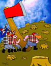 Cartoon: The rise of the axe (small) by Munguia tagged munguia sad iwo jima bad wrong axe lumberjack lumber woods tree costa rica cartoon caricatura humor grafico calcamunguias parody parodies rise of the flag