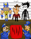 Cartoon: Who made this to you? (small) by Munguia tagged lucio,fontana,spatial,concept,concepto,espacial,rojo,red,wolverine,freddy,kruegher,edwar,scissorhands,manos,de,tijera,tim,burton,xmen