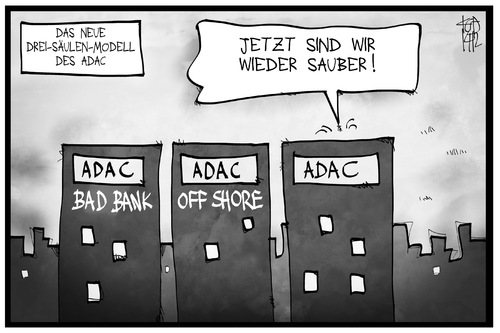 Cartoon: ADAC (medium) by Kostas Koufogiorgos tagged karikatur,koufogiorgos,illustration,cartoon,adac,automobil,club,säule,modell,bad,bank,off,shore,reform,verein,karikatur,koufogiorgos,illustration,cartoon,adac,automobil,club,säule,modell,bad,bank,off,shore,reform,verein