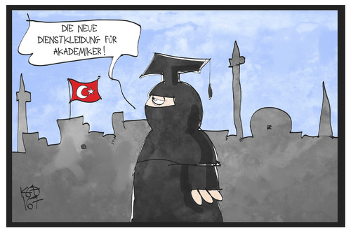 Cartoon: Akademiker in der Türkei (medium) by Kostas Koufogiorgos tagged karikatur,koufogiorgos,illustration,cartoon,tuerkei,ausreiseverbot,burka,akademiker,universität,kleidung,uniform,wissenschaftler,doktor,karikatur,koufogiorgos,illustration,cartoon,tuerkei,ausreiseverbot,burka,akademiker,universität,kleidung,uniform,wissenschaftler,doktor