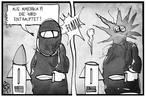 Cartoon: Angriff auf die IS-Miliz (medium) by Kostas Koufogiorgos tagged karikatur,koufogiorgos,illustration,cartoon,is,miliz,terrorist,enthauptung,explosion,rakete,bombe,usa,syrien,krieg,islamismus,politik,karikatur,koufogiorgos,illustration,cartoon,is,miliz,terrorist,enthauptung,explosion,rakete,bombe,usa,syrien,krieg,islamismus,politik