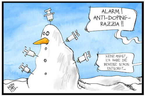 Cartoon: Anti-Doping-Razzia (medium) by Kostas Koufogiorgos tagged karikatur,koufogiorgos,illustration,cartoon,razzia,doping,ski,wm,schneemann,wintersport,betrug,beweismittel,spritze,karikatur,koufogiorgos,illustration,cartoon,razzia,doping,ski,wm,schneemann,wintersport,betrug,beweismittel,spritze