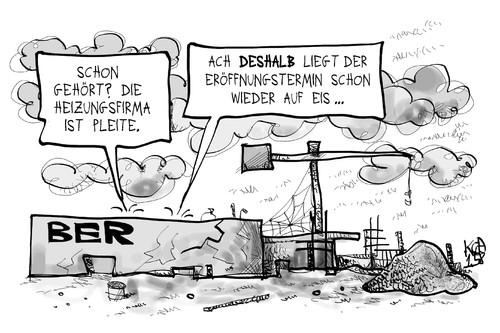 Cartoon: BER (medium) by Kostas Koufogiorgos tagged projekt,infrastruktur,technik,eis,heizung,pleite,firma,insolvenz,imtech,flughafen,berlin,ber,cartoon,illustration,koufogiorgos,karikatur,karikatur,koufogiorgos,illustration,cartoon,ber,berlin,flughafen,imtech,insolvenz,firma,pleite,heizung,eis,technik,infrastruktur,projekt