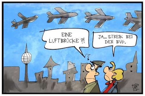Cartoon: BVG-Streik (medium) by Kostas Koufogiorgos tagged karikatur,koufogiorgos,illustration,cartoon,bvg,verkehrsbetriebe,berlin,luftbrücke,flugzeug,verkehr,streik,arbeitskampf,karikatur,koufogiorgos,illustration,cartoon,bvg,verkehrsbetriebe,berlin,luftbrücke,flugzeug,verkehr,streik,arbeitskampf