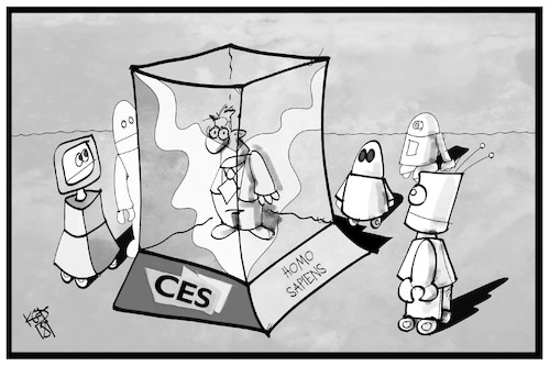 Cartoon: CES-Exponate (medium) by Kostas Koufogiorgos tagged karikatur,koufogiorgos,illustration,cartoon,ces,messe,ausstellung,elektronik,roboter,mensch,homo,sapiens,künstlich,intelligenz,karikatur,koufogiorgos,illustration,cartoon,ces,messe,ausstellung,elektronik,roboter,mensch,homo,sapiens,künstlich,intelligenz