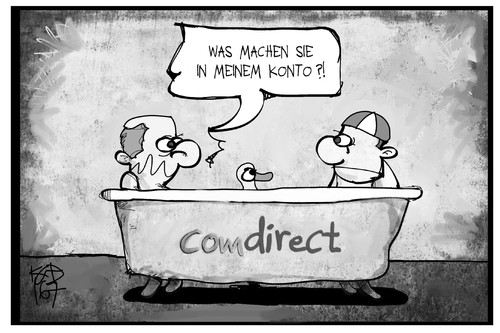 Cartoon: comdirect-Panne (medium) by Kostas Koufogiorgos tagged karikatur,koufogiorgos,illustration,cartoon,comdirect,bank,direktbank,commerzbank,panne,loriot,herren,bad,ente,wirtschaft,daten,it,konto,kunde,karikatur,koufogiorgos,illustration,cartoon,comdirect,bank,direktbank,commerzbank,panne,loriot,herren,bad,ente,wirtschaft,daten,it,konto,kunde