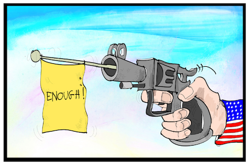 Cartoon: Demo gegen Waffen (medium) by Kostas Koufogiorgos tagged karikatur,koufogiorgos,illustration,cartoon,waffen,pistole,demonstration,enough,waffengesetz,nra,usa,karikatur,koufogiorgos,illustration,cartoon,waffen,pistole,demonstration,enough,waffengesetz,nra,usa