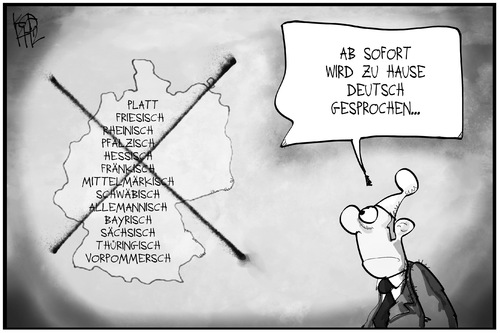 Cartoon: Deutsche Sprache (medium) by Kostas Koufogiorgos tagged karikatur,koufogiorgos,illustration,cartoon,michel,deutschland,deutsch,dialekt,mundart,sprache,sprachvielfalt,verbot,karikatur,koufogiorgos,illustration,cartoon,michel,deutschland,deutsch,dialekt,mundart,sprache,sprachvielfalt,verbot