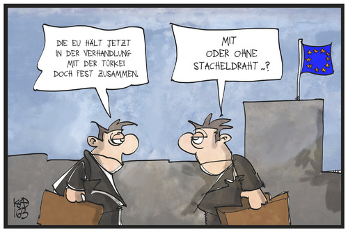 Cartoon: Die EU hält zusammen (medium) by Kostas Koufogiorgos tagged karikatur,koufogiorgos,illustration,cartoon,eu,tuerkei,draht,stacheldraht,zusammenhalt,gipfel,einigung,eurokrat,europa,karikatur,koufogiorgos,illustration,cartoon,eu,tuerkei,draht,stacheldraht,zusammenhalt,gipfel,einigung,eurokrat,europa