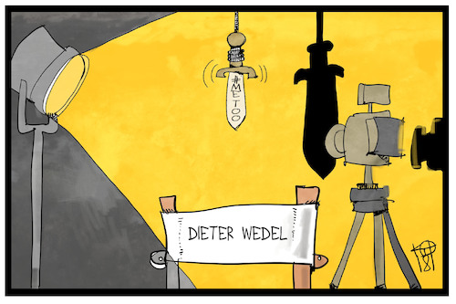 Cartoon: Dieter Wedel (medium) by Kostas Koufogiorgos tagged karikatur,koufogiorgos,illustration,cartoon,wedel,regisseur,sexismus,metoon,missbrauch,anklage,vorwurf,showbusiness,damokles,schwert,regie,scheinwerfer,kamera,film,karikatur,koufogiorgos,illustration,cartoon,wedel,regisseur,sexismus,metoon,missbrauch,anklage,vorwurf,showbusiness,damokles,schwert,regie,scheinwerfer,kamera,film