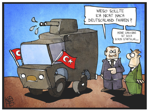 Cartoon: Erdogan in Deutschland (medium) by Kostas Koufogiorgos tagged karikatur,koufogiorgos,illustration,cartoon,erdogan,türkei,wasserwerfer,limousine,wahlkampf,deutschland,demonstration,politik,karikatur,koufogiorgos,illustration,cartoon,erdogan,türkei,wasserwerfer,limousine,wahlkampf,deutschland,demonstration,politik