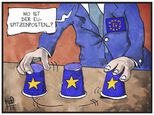 Cartoon: EU-Postenvergabe (medium) by Kostas Koufogiorgos tagged karikatur,koufogiorgos,illustration,cartoon,eu,posten,europa,geschacher,spiel,politik,hütchenspiel,amt,karikatur,koufogiorgos,illustration,cartoon,eu,posten,europa,geschacher,spiel,politik,hütchenspiel,amt