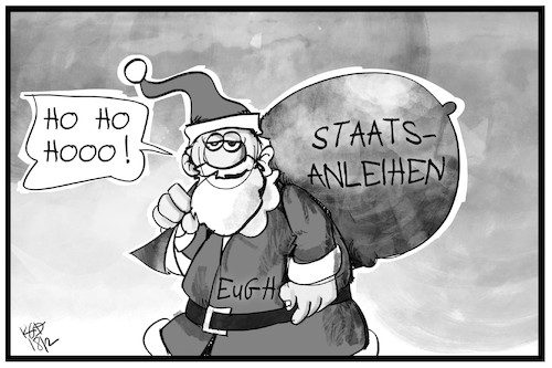 Cartoon: EU-Staatsanleihen (medium) by Kostas Koufogiorgos tagged karikatur,koufogiorgos,illustration,cartoon,eu,ezb,weihnachtsmann,geschenk,geld,staatsanleihen,europa,bank,wirtschaft,karikatur,koufogiorgos,illustration,cartoon,eu,ezb,weihnachtsmann,geschenk,geld,staatsanleihen,europa,bank,wirtschaft