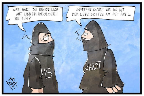Cartoon: Extremisten (medium) by Kostas Koufogiorgos tagged karikatur,koufogiorgos,illustration,cartoon,extremist,islamist,autonome,links,aktivist,kriminalität,gott,liebe,ideologie,fanatiker,karikatur,koufogiorgos,illustration,cartoon,extremist,islamist,autonome,links,aktivist,kriminalität,gott,liebe,ideologie,fanatiker