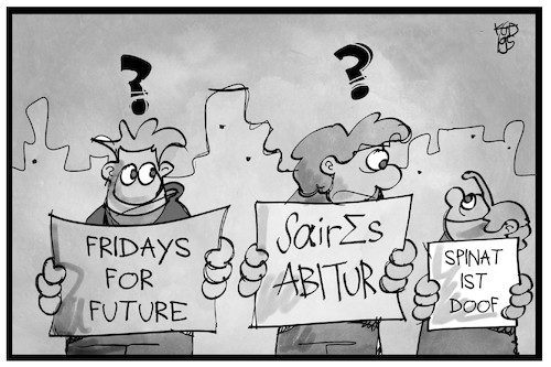 Cartoon: Faires Abitur (medium) by Kostas Koufogiorgos tagged karikatur,koufogiorgos,illustration,cartoon,mathe,abitur,demonstration,fridays,future,schüler,bildung,protest,karikatur,koufogiorgos,illustration,cartoon,mathe,abitur,demonstration,fridays,future,schüler,bildung,protest