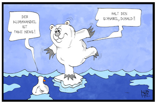 Cartoon: Fake Klimawandel (medium) by Kostas Koufogiorgos tagged karikatur,koufogiorgos,illustration,cartoon,umwelt,eis,pol,nordpol,südpol,arktis,antarktis,eisbär,tier,schmelze,klimawandel,erderwärmung,trump,donald,wasser,fake,news,karikatur,koufogiorgos,illustration,cartoon,umwelt,eis,pol,nordpol,südpol,arktis,antarktis,eisbär,tier,schmelze,klimawandel,erderwärmung,trump,donald,wasser,fake,news