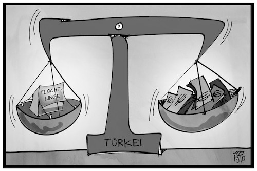 Cartoon: Flüchtlingsdeal Türkei (medium) by Kostas Koufogiorgos tagged karikatur,koufogiorgos,illustration,cartoon,tuerkei,fluechtlinge,geld,waage,aufwiegen,gewichtung,europa,eu,flüchtlingspolitik,migration,karikatur,koufogiorgos,illustration,cartoon,tuerkei,fluechtlinge,geld,waage,aufwiegen,gewichtung,europa,eu,flüchtlingspolitik,migration