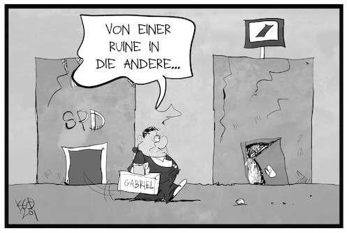 Cartoon: Gabriel geht zur Deutschen Bank (medium) by Kostas Koufogiorgos tagged karikatur,koufogiorgos,illustration,cartoon,gabriel,spd,bank,deutsche,politik,wirtschaft,lobbyismus,karikatur,koufogiorgos,illustration,cartoon,gabriel,spd,bank,deutsche,politik,wirtschaft,lobbyismus