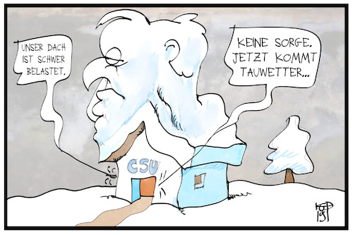 Cartoon: Horst Seehofer (medium) by Kostas Koufogiorgos tagged karikatur,koufogiorgos,illustration,cartoon,csu,vorsitz,seehofer,schnee,dach,last,partei,politik,personalie,amt,karikatur,koufogiorgos,illustration,cartoon,csu,vorsitz,seehofer,schnee,dach,last,partei,politik,personalie,amt