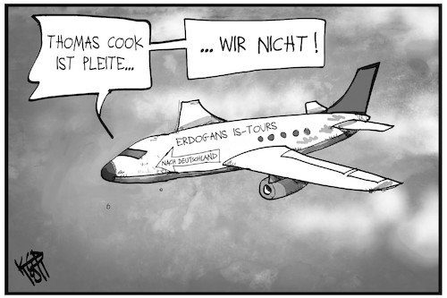 Cartoon: IS-Anhänger (medium) by Kostas Koufogiorgos tagged karikatur,koufogiorgos,illustration,cartoon,erdogan,tuerkei,is,terrorismus,flugzeug,thomas,cook,pleite,ausreisen,rückführung,karikatur,koufogiorgos,illustration,cartoon,erdogan,tuerkei,is,terrorismus,flugzeug,thomas,cook,pleite,ausreisen,rückführung