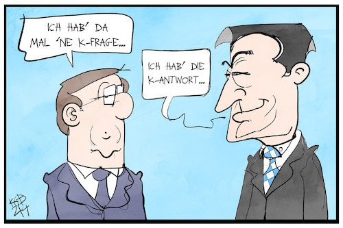 Cartoon: K-Frage und Antwort (medium) by Kostas Koufogiorgos tagged karikatur,koufogiorgos,illustration,cartoon,frage,antwort,cdu,csu,kanzlerkandidat,laschet,soeder,union,karikatur,koufogiorgos,illustration,cartoon,frage,antwort,cdu,csu,kanzlerkandidat,laschet,soeder,union