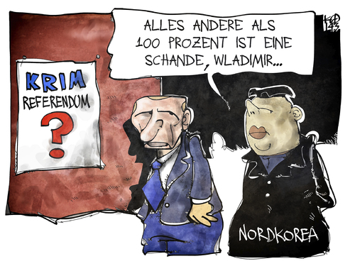 Cartoon: Krim-Referendum (medium) by Kostas Koufogiorgos tagged karikatur,cartoon,illustration,koufogiorgos,putin,kim,jong,un,nordkorea,russland,krim,ukraine,referendum,wahl,abstimmung,anschluss,politik,diktatur,konflikt,karikatur,cartoon,illustration,koufogiorgos,putin,kim,jong,un,nordkorea,russland,krim,ukraine,referendum,wahl,abstimmung,anschluss,politik,diktatur,konflikt