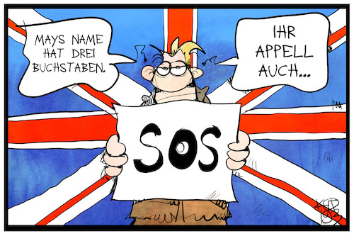 Cartoon: Mays S.O.S. (medium) by Kostas Koufogiorgos tagged karikatur,koufogiorgos,illustration,cartoon,theresa,may,sos,brexit,eu,europa,karikatur,koufogiorgos,illustration,cartoon,theresa,may,sos,brexit,eu,europa
