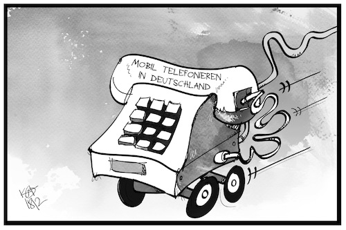 Cartoon: Mobiles Telefonieren (medium) by Kostas Koufogiorgos tagged karikatur,koufogiorgos,illustration,cartoon,mobilfunk,telekommunikation,telefon,handy,internet,schnelligkeit,smartphone,karikatur,koufogiorgos,illustration,cartoon,mobilfunk,telekommunikation,telefon,handy,internet,schnelligkeit,smartphone