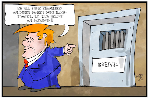Cartoon: Norwegische Einwanderer (medium) by Kostas Koufogiorgos tagged karikatur,koufogiorgos,illustration,cartoon,trump,breivik,norwegen,drecksloch,einwanderung,immigranten,beleidigung,usa,gefängnis,kriminalität,karikatur,koufogiorgos,illustration,cartoon,trump,breivik,norwegen,drecksloch,einwanderung,immigranten,beleidigung,usa,gefängnis,kriminalität