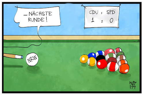 Cartoon: NRW-Wahlkampf (medium) by Kostas Koufogiorgos tagged karikatur,koufogiorgos,illustration,cartoon,nrw,wahlkampf,billard,snooker,spiel,runde,cdu,spd,politik,karikatur,koufogiorgos,illustration,cartoon,nrw,wahlkampf,billard,snooker,spiel,runde,cdu,spd,politik