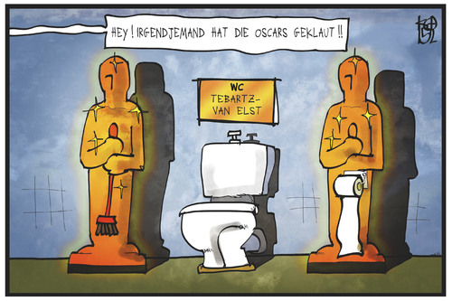 Cartoon: Oscar-Verleihung (medium) by Kostas Koufogiorgos tagged karikatur,koufogiorgos,illustration,cartoon,bischof,bischofssitz,toilette,bad,oscar,protz,prunk,religion,limburg,verschwendung,diebstahl,academy,award,film,preis,trophäe,hollywood,karikatur,koufogiorgos,illustration,cartoon,bischof,bischofssitz,toilette,bad,oscar,protz,prunk,religion,limburg,verschwendung,diebstahl,academy,award,film,preis,trophäe,hollywood