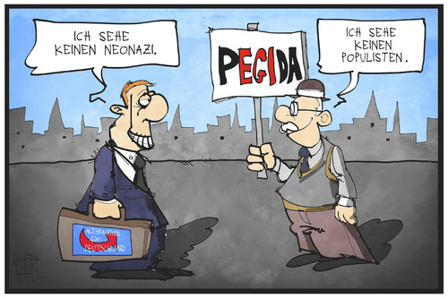 Cartoon: PEGIDA (medium) by Kostas Koufogiorgos tagged karikatur,koufogiorgos,illustration,cartoon,pegida,demonstration,afd,neonazi,populist,politik,partei,karikatur,koufogiorgos,illustration,cartoon,pegida,demonstration,afd,neonazi,populist,politik,partei