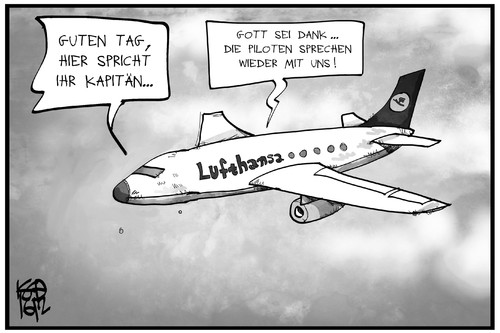 Cartoon: Pilotenstreik (medium) by Kostas Koufogiorgos tagged karikatur,koufogiorgos,illustration,cartoon,piloten,streik,arbeitskampf,lufthansa,flugzeug,gespräch,sprechen,verhandeln,cockpit,gewerkschaft,karikatur,koufogiorgos,illustration,cartoon,piloten,streik,arbeitskampf,lufthansa,flugzeug,gespräch,sprechen,verhandeln,cockpit,gewerkschaft