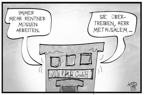 Cartoon: Rentner arbeiten (medium) by Kostas Koufogiorgos tagged karikatur,koufogiorgos,illustration,cartoon,arbeit,alter,rentner,methusalem,firma,job,soziales,altersarmut,karikatur,koufogiorgos,illustration,cartoon,arbeit,alter,rentner,methusalem,firma,job,soziales,altersarmut