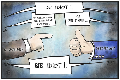 Cartoon: Schuldenstreit (medium) by Kostas Koufogiorgos tagged karikatur,koufogiorgos,illustration,cartoon,griechenland,europa,schuldenstreit,gläubiger,lagarde,kinder,erwachsene,duzen,siezen,kindisch,förmlich,idiot,beschimpfung,konflikt,krise,institutionen,troika,politik,karikatur,koufogiorgos,illustration,cartoon,griechenland,europa,schuldenstreit,gläubiger,lagarde,kinder,erwachsene,duzen,siezen,kindisch,förmlich,idiot,beschimpfung,konflikt,krise,institutionen,troika,politik