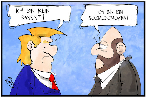 Cartoon: Schulz und Trump (medium) by Kostas Koufogiorgos tagged karikatur,koufogiorgos,illustration,cartoon,trump,rassismus,schulz,spd,luege,politiker,usa,präsident,partei,sozialdemokrat,karikatur,koufogiorgos,illustration,cartoon,trump,rassismus,schulz,spd,luege,politiker,usa,präsident,partei,sozialdemokrat