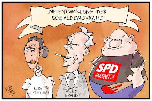 Cartoon: Sozialdemokratie (medium) by Kostas Koufogiorgos tagged karikatur,koufogiorgos,illustration,cartoon,sozialdemokratie,rosa,luxemburg,willy,brandt,neonazi,rechtsextremismus,sassnitz,partei,geschichte,demokratie,karikatur,koufogiorgos,illustration,cartoon,sozialdemokratie,rosa,luxemburg,willy,brandt,neonazi,rechtsextremismus,sassnitz,partei,geschichte,demokratie