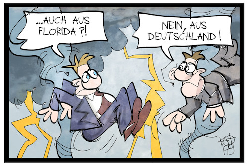 Cartoon: Sturm in Deutschland (medium) by Kostas Koufogiorgos tagged karikatur,koufogiorgos,illustration,cartoon,deutschland,wetter,sturm,florida,hurricane,sebsatian,irma,klima,karikatur,koufogiorgos,illustration,cartoon,deutschland,wetter,sturm,florida,hurricane,sebsatian,irma,klima