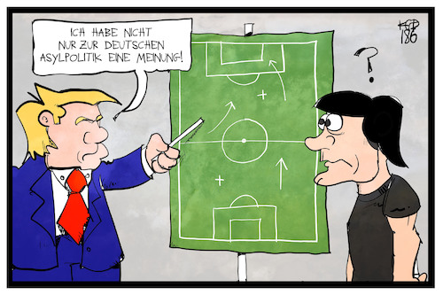 Cartoon: Trumps Meinung (medium) by Kostas Koufogiorgos tagged karikatur,koufogiorgos,illustration,cartoon,trump,loew,fussball,strategie,taktik,wm,weltmeisterschaft,sport,politik,asylpolitik,usa,präsident,fifa,trainer,coach,karikatur,koufogiorgos,illustration,cartoon,trump,loew,fussball,strategie,taktik,wm,weltmeisterschaft,sport,politik,asylpolitik,usa,präsident,fifa,trainer,coach