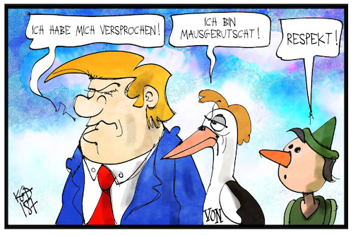Cartoon: Versprecher und Mausrutscher (medium) by Kostas Koufogiorgos tagged karikatur,koufogiorgos,illustration,cartoon,trump,storch,usa,präsident,afd,pinocchio,lüge,mausgerutscht,versprecher,politik,politiker,karikatur,koufogiorgos,illustration,cartoon,trump,storch,usa,präsident,afd,pinocchio,lüge,mausgerutscht,versprecher,politik,politiker
