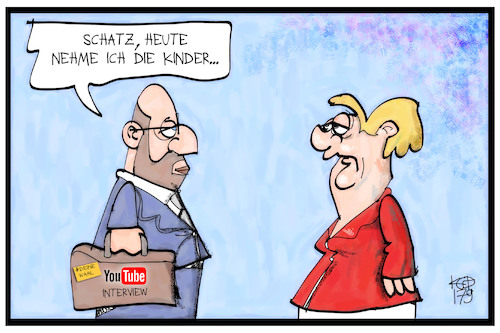 Cartoon: YouTuber fragen Schulz (medium) by Kostas Koufogiorgos tagged karikatur,koufogiorgos,illustration,cartoon,youtube,schulz,interview,merkel,kinder,eltern,paar,wahlkampf,bundestagswahl,karikatur,koufogiorgos,illustration,cartoon,youtube,schulz,interview,merkel,kinder,eltern,paar,wahlkampf,bundestagswahl