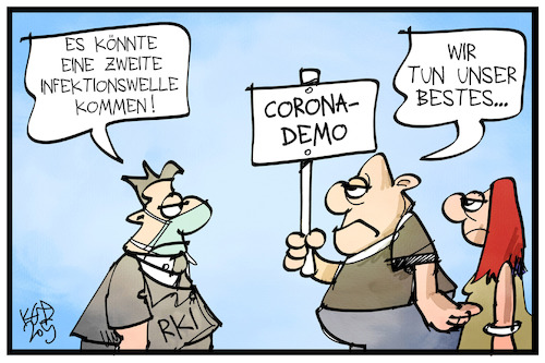 Cartoon: Zweite Infektionswelle (medium) by Kostas Koufogiorgos tagged karikatur,koufogiorgos,illustration,cartoon,infektion,welle,pandemie,corona,virus,rki,demo,demonstrant,leugner,kritiker,krankheit,karikatur,koufogiorgos,illustration,cartoon,infektion,welle,pandemie,corona,virus,rki,demo,demonstrant,leugner,kritiker,krankheit