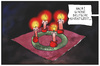 Cartoon: 4. Advent (small) by Kostas Koufogiorgos tagged karikatur,koufogiorgos,illustration,cartoon,advent,adventskranz,deutsch,china,nostalgie,globalisierung,kerzen