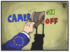 Cartoon: Cameron (small) by Kostas Koufogiorgos tagged karikatur,koufogiorgos,illustration,cameron,on,off,schalter,europa,eu,politik,kommission
