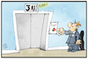 Cartoon: Exit am 3. Mai (small) by Kostas Koufogiorgos tagged karikatur,koufogiorgos,illustration,cartoon,kontaktsperre,lockerungen,corona,virus,pandemie,krise,bürger,beschränkungen