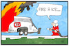 Cartoon: Feuer in einem ICE (small) by Kostas Koufogiorgos tagged karikatur,koufogiorgos,illustration,cartoon,ice,bahn,feuer,feuerwehrmann,brand,unfall,infrastruktur