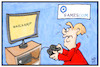Cartoon: Gamescom (small) by Kostas Koufogiorgos tagged karikatur,koufogiorgos,illustration,cartoon,gamescom,merkel,wahlkampf,videospiel,messe,computer,neuland
