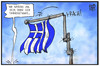 Cartoon: Griechenland (small) by Kostas Koufogiorgos tagged karikatur,koufogiorgos,illustration,cartoon,griechenland,fahne,flagge,crash,krise,wirtschaft,nation,politik,fahnenmast,fahnenstange