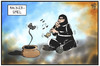 Cartoon: Hacker-Spiel (small) by Kostas Koufogiorgos tagged karikatur,koufogiorgos,illustration,cartoon,sony,microsoft,playstation,xbox,hacker,game,konsole,beschwörer,gamepad,angriff,internet